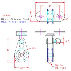 Base mounted swivel block