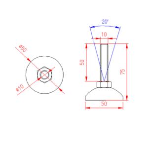 Adjustable Levelling Feet - Metal Base