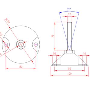 Adjustable Levelling Feet - Nylon Base with Holes