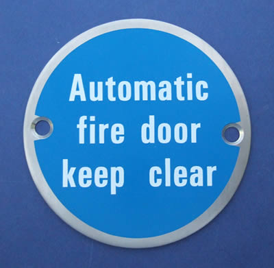 Automatic fire door keep clear - Door Sign